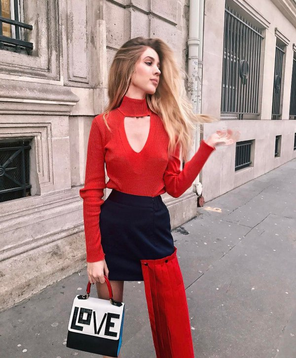 red, clothing, lady, dress, footwear,