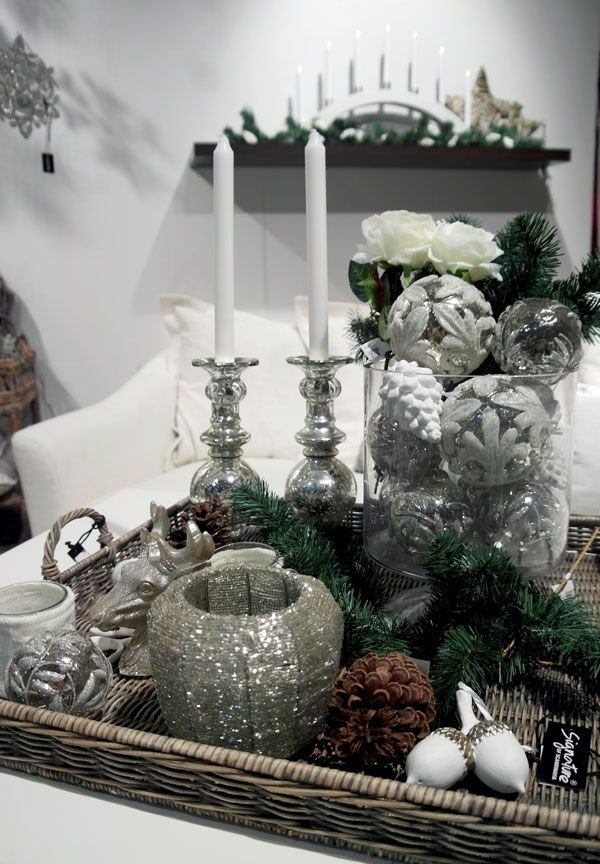 Winter white and silver coffee table decor ideas that
