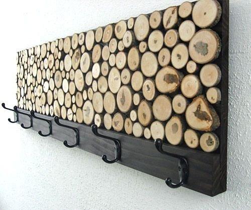 en rodajas perchero de madera