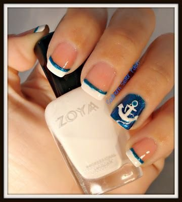 Blue french tips 21 nautical nail art ideas that will rock your fingernailnail carehandmanicure prinsesfo Gallery