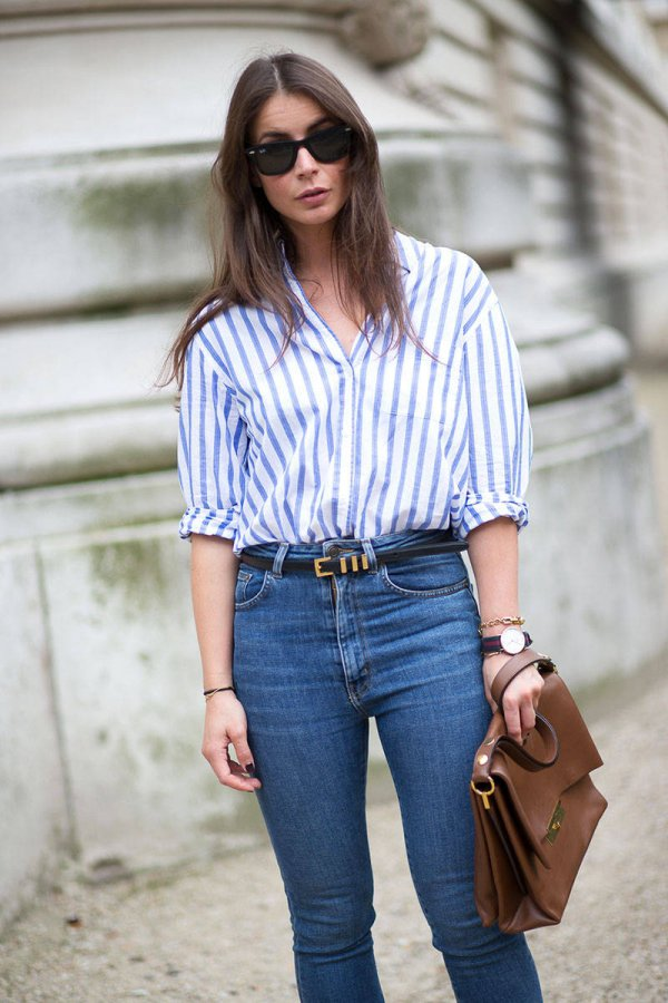 High Waisted Jeans with a Striped Shirt - How to 📝 Wear Blue Jeans…
