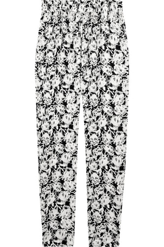 Paul and Joe Poum Cat-Print Silk-Crepe Pants