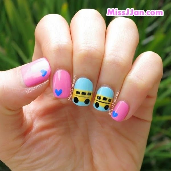 School bus nail art on point back to school nail art school bus nail art prinsesfo Gallery
