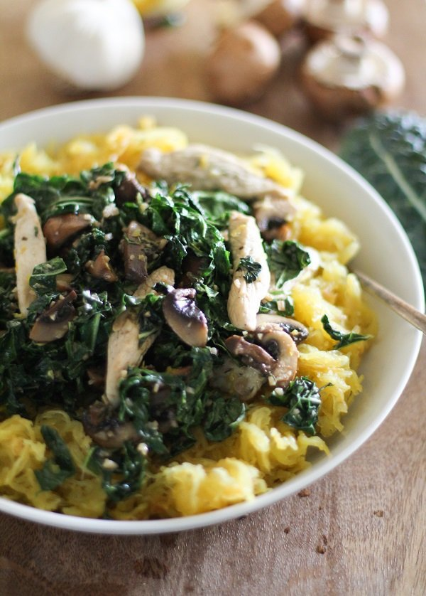 GARLICKY SPAGHETTI SQUASH with CHICKEN, MUSHROOMS, and KALE