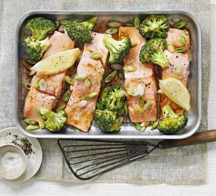 Oriental Salmon & Broccoli Tray-bake