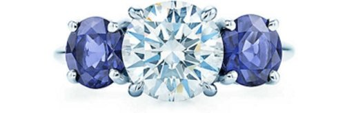 Tiffany Three Stone Ring with Sapphire Side Stones