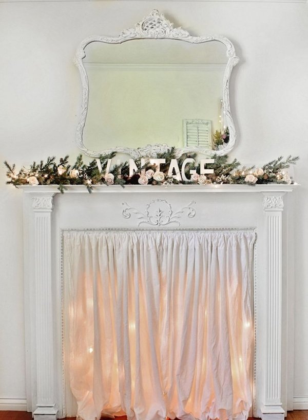 Decorate an empty fireplace 7 ways to use christmas lights all for Camino finto shabby