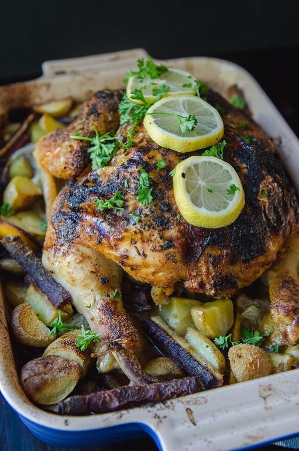 ... Roasted Lemon and Rosemary Chicken with Garlic and Root Vegetables
