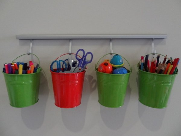 Use Buckets to Organize Art Supplies