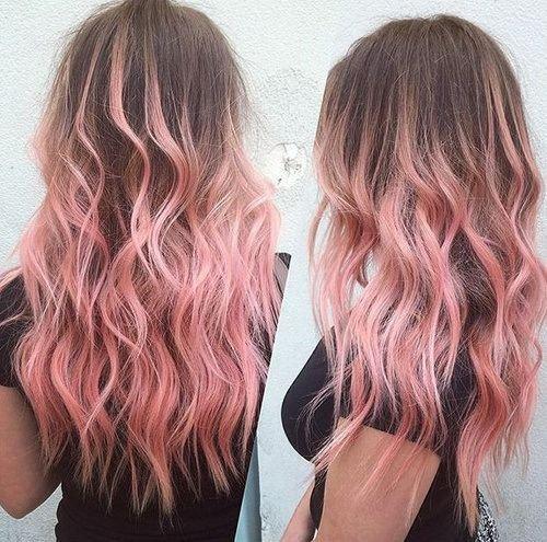 32. brun cheveux aux reflets Ombré de rose Pastel