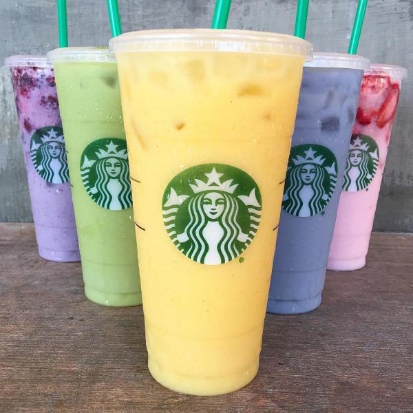 Starbucks, drink, produce, juice, food,