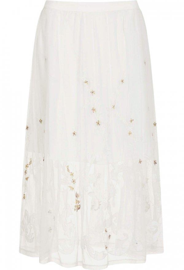 Topshop Embroidered Midi Skirt