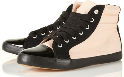 Topshop Tune Blush Patent Toe Trainers