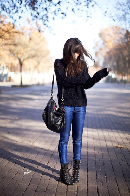 Black Sweater and Lace-up Boots
