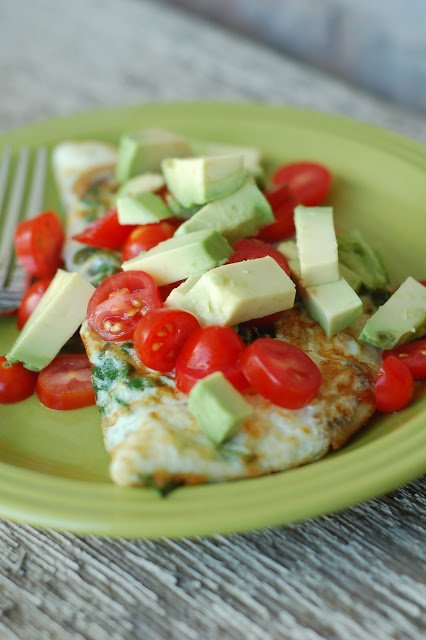 Egg White Omelet with Spinach, Mushrooms, Cheese, Tomato and Avocado