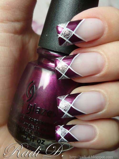 Purple plaid french tip 39 awesome plaid nail art designs for purple plaid french tip fingernailpinknail carenail polish prinsesfo Images