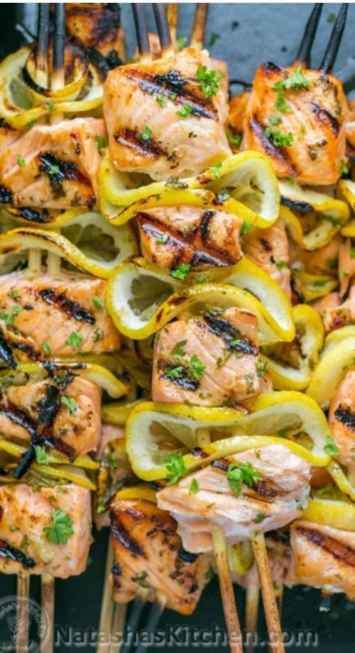 Easy Grilled Salmon Skewers with Garlic & Dijon
