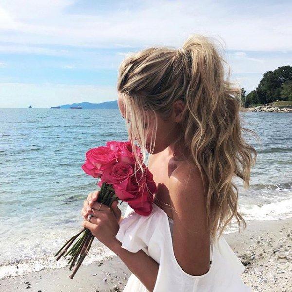 vacation, sea, person, woman, shore,
