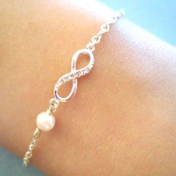 Infinity Pearl Gold Silver Bracelet