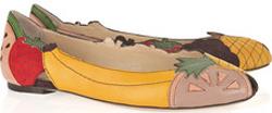Charlotte Olympia Tutti Frutti Leather & Suede Flats