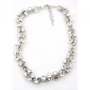 Angled Rhinestone and Silver Necklace
