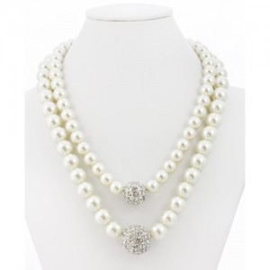 Double Pearl Strand Necklace with Crystal Accent