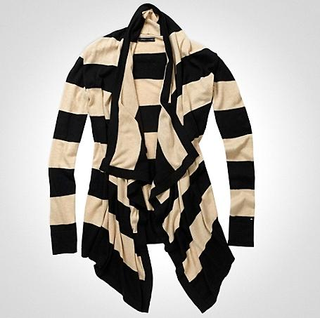 Tommy Hilfiger Rugby Striped Drape Front Cardigan...