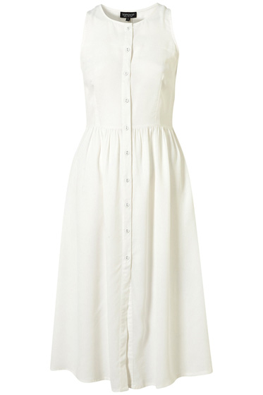 White Midi Dress - Topshop Button Front Midi Dress