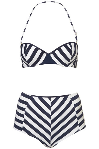 Topshop Stripe Retro Swimsuit