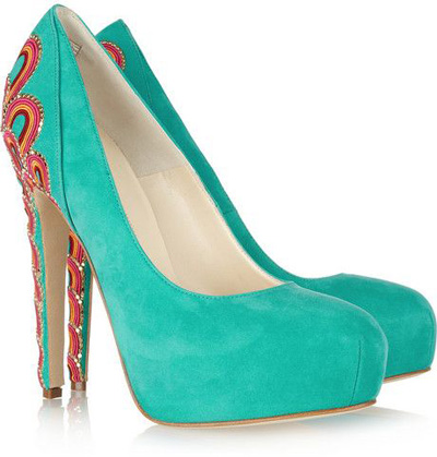 Brian Atwood | Claudia Embroidered Suede Pumps