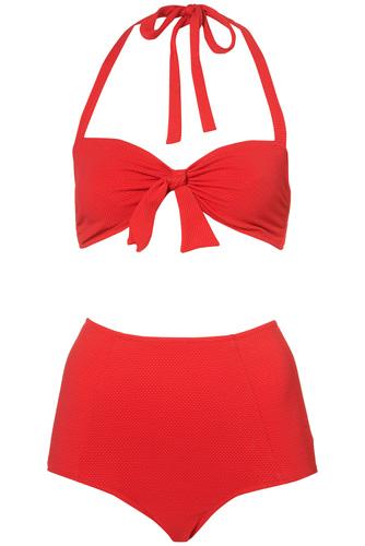 Topshop Red Textured Bikini