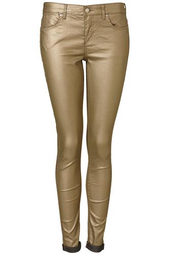 Moto Metallic Gold Jeans