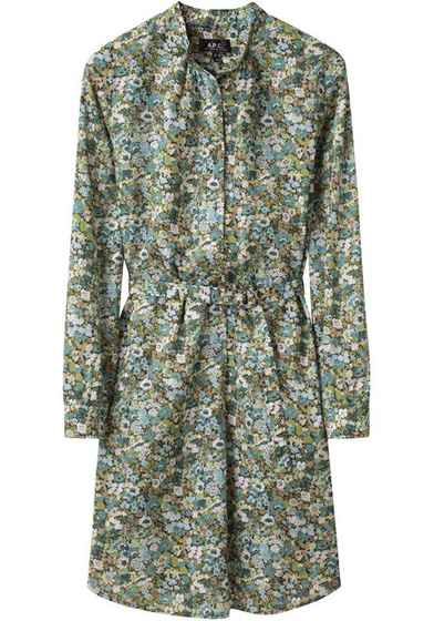 A.P.C. Belted Floral Shirtdress
