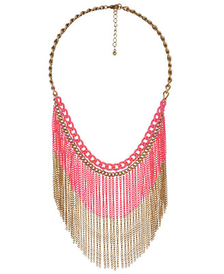 Forever21 Color Blocked Fringe Necklace