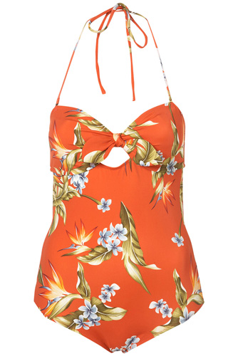 Topshop Red Palm Print One Piece