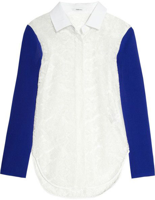 Carven Contrast Sleeve Lace Shirt - 7 Chic Contrast Sleeve Tops…