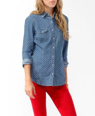 Polka dot chambray shirt 9 best polka dot fashions for Cuisine you chambray