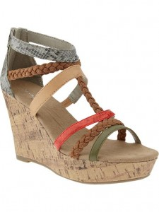 Mixed-Strap Color-Block Wedge