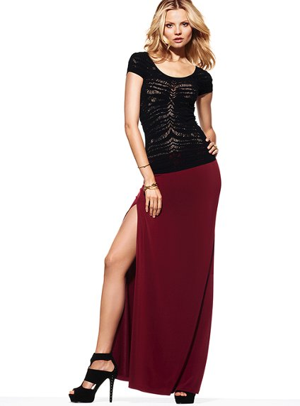 Victoria's Secret Double Slit Maxi Skirt - 7 Thigh High-Slit Maxi…