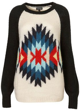 Topshop Knitted Aztec Motif Sweater
