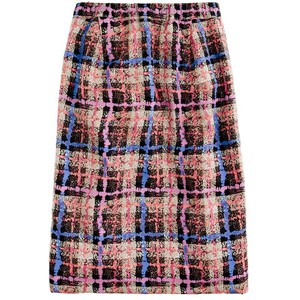 Checkered Pattern Pencil Skirt
