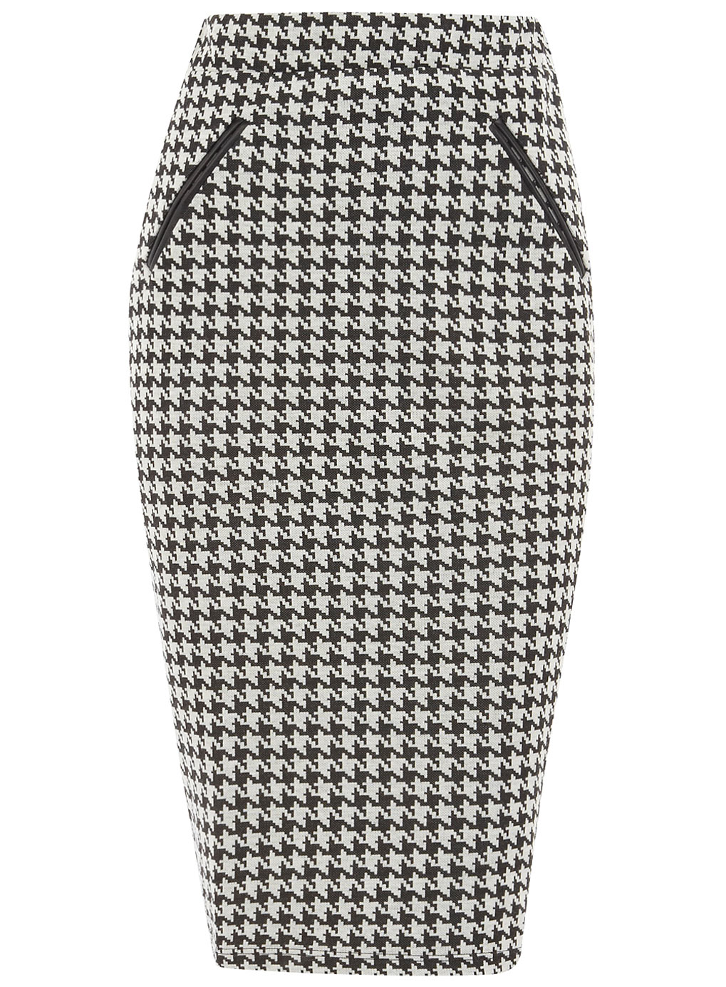 This plus size knee length pencil skirt from Ashley Stewart has a classy, cool & trendy houndstooth print all over, with a fun & flirty slit on the front!