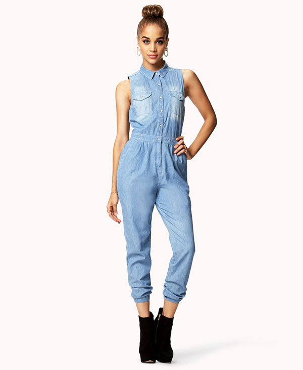Faded Denim Jumpsuit - 7 Chic Jumpsuits to Rock This Season ... →…