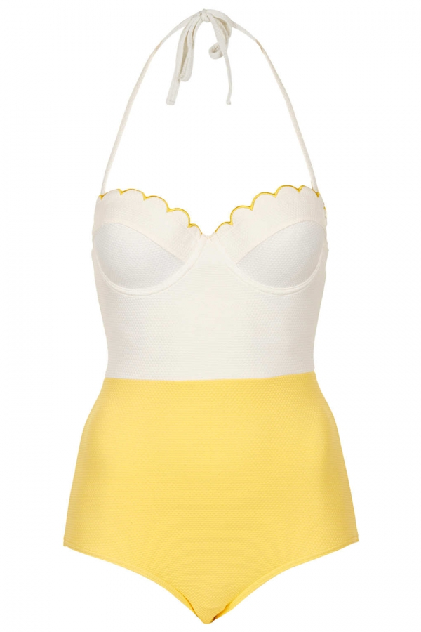 Colourblock Scalloped Swimsuit