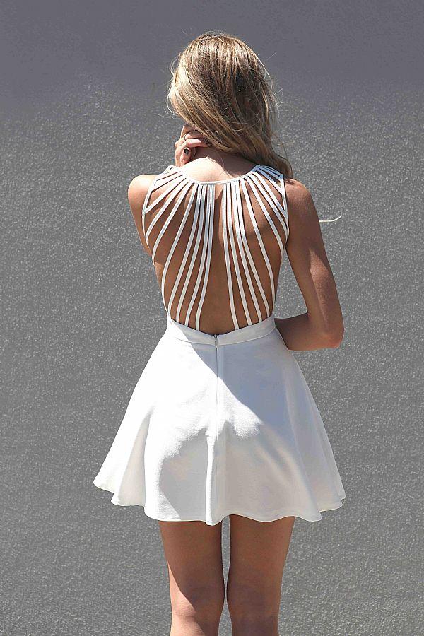 2. White Sleeveless Dress with Lattice Open Back - 9 Lovely Beach…