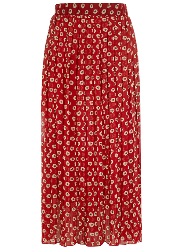 Red Floral Pleated Maxi Skirt - 7 Summer-Perfect Printed Maxi…