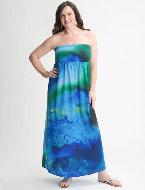 3. Water Color Strapless Maxi Dress from Lane Bryant - 7 Summer…