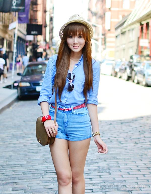 With a Cute Belt - 7 Ways to Wear High Waist Denim Shorts like a…