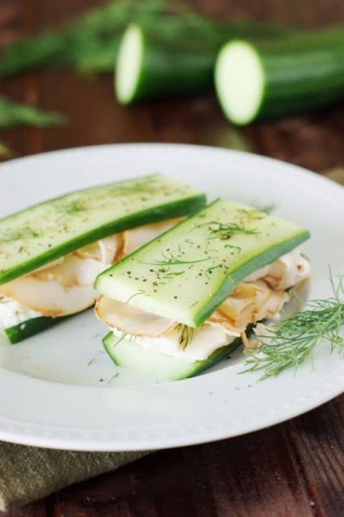 Low-Carb Smoked Turkey & Cucumber Sandwiches