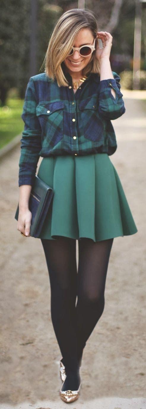 Plaid Shirt and Skirt